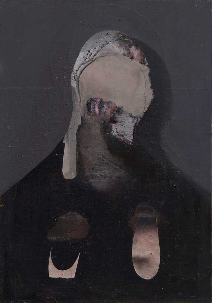 2011/2012, oil and paper on wood, 29 x 17 cm