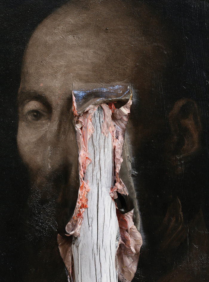 2012, oil on wood, 117 x 22 x 38 cm (detail)