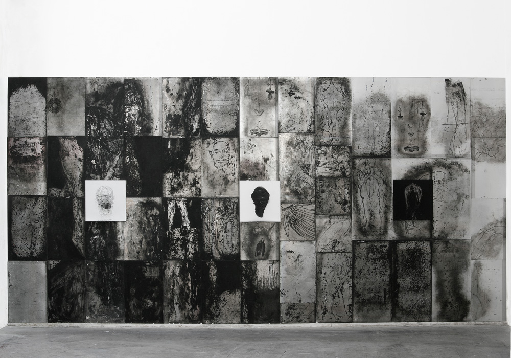 2004-2014,  oil, ink and charcoal on wood and aluminum,  300 x 670 cm