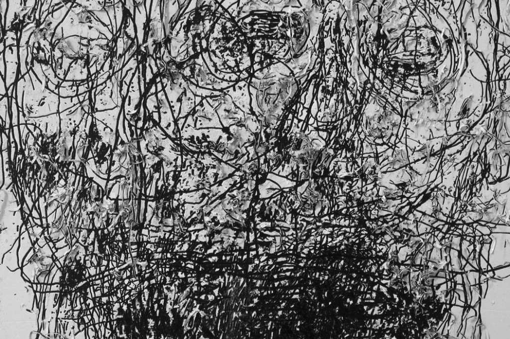 2004-2014,  oil, ink and charcoal on wood and aluminum,  300 x 670 cm (detail)